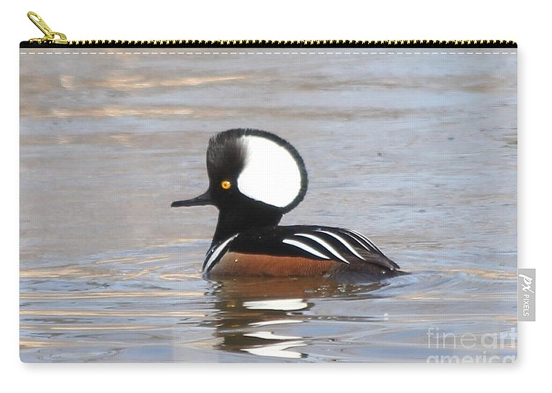 Hodded Carry-all Pouch featuring the photograph Hooded Merganser by Lori Tordsen