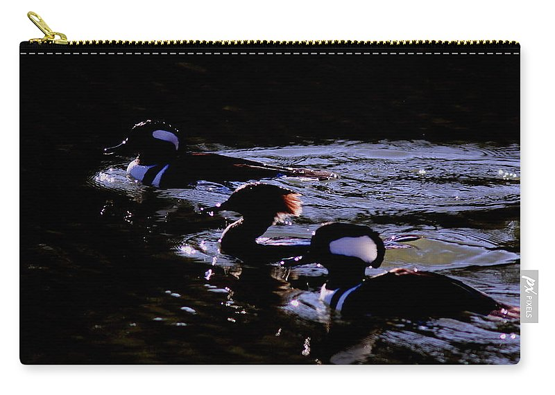 Hooded Merganser Carry-all Pouch featuring the photograph Hooded Mergansers And Moon Glare by Travis Truelove