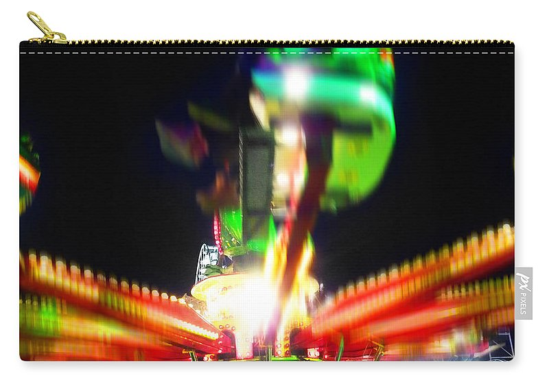 Fairground Ride At Night Carry-all Pouch featuring the digital art Hoppity Hop Hop Hop by Charles Stuart