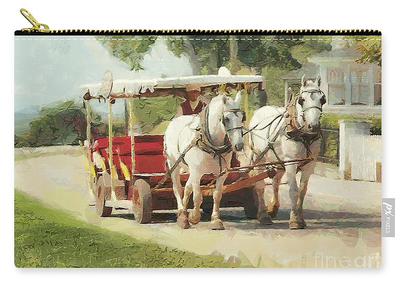Horses Carry-all Pouch featuring the painting Horse Carriage Mackinac Island Michigan by Anne Kitzman