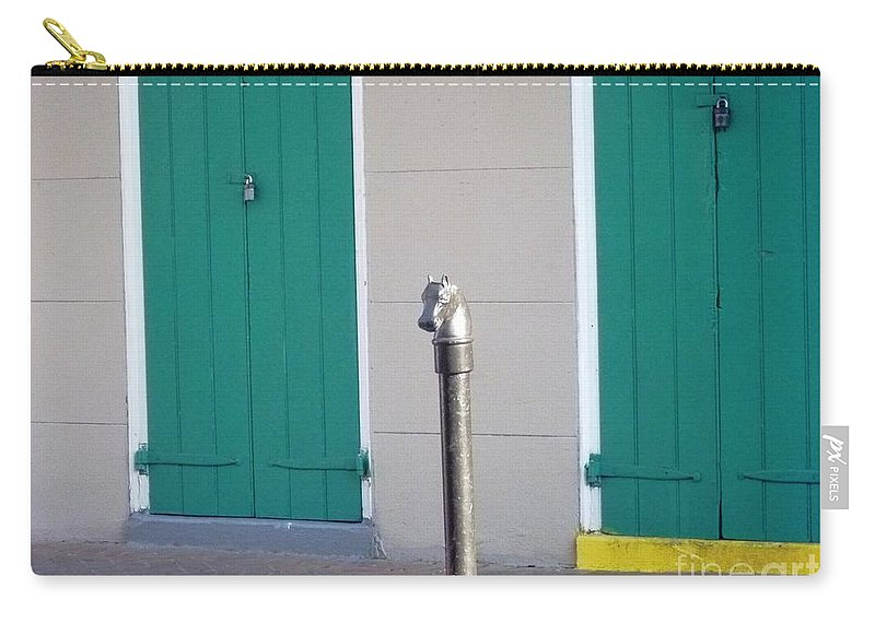 Horse Head Post Carry-all Pouch featuring the photograph Horse Head Post With Green Doors by Alys Caviness-Gober