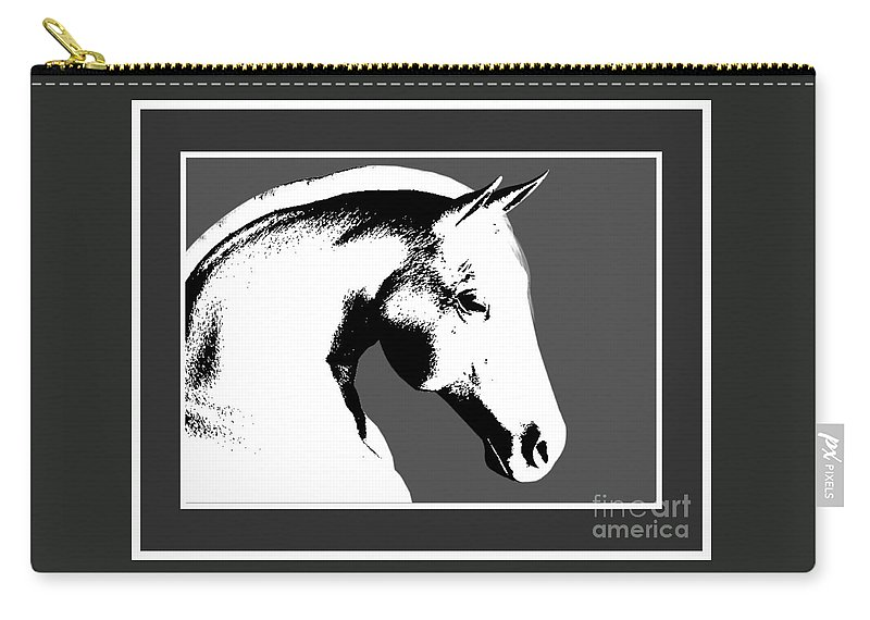 Horses Carry-all Pouch featuring the digital art Horse In Black And White by Smilin Eyes Treasures