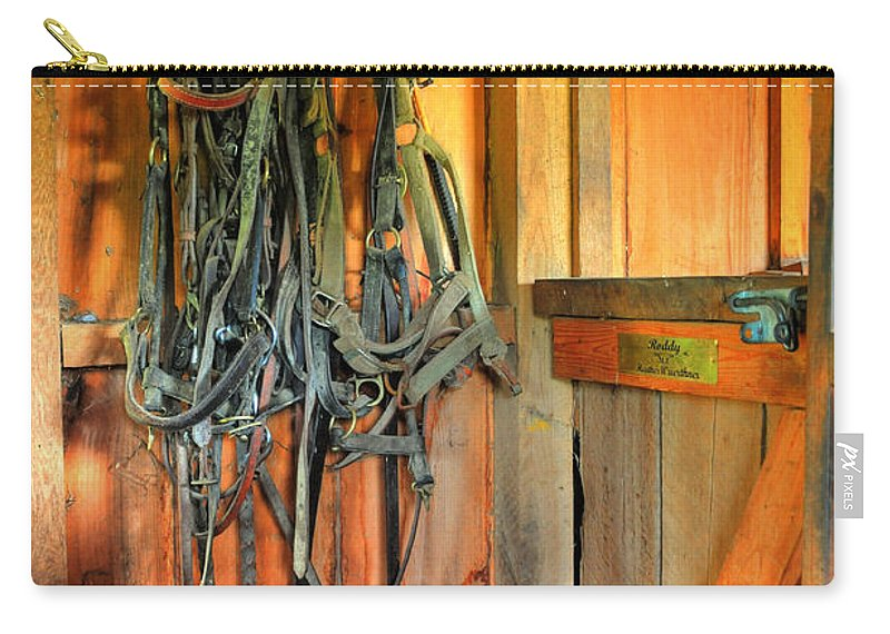 Horse Tack Carry-all Pouch featuring the photograph Horse Tack by Paul Ward
