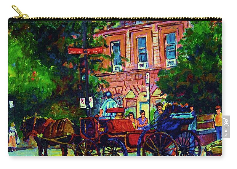 Rue Notre Dame Carry-all Pouch featuring the painting Horsedrawn Carriage by Carole Spandau
