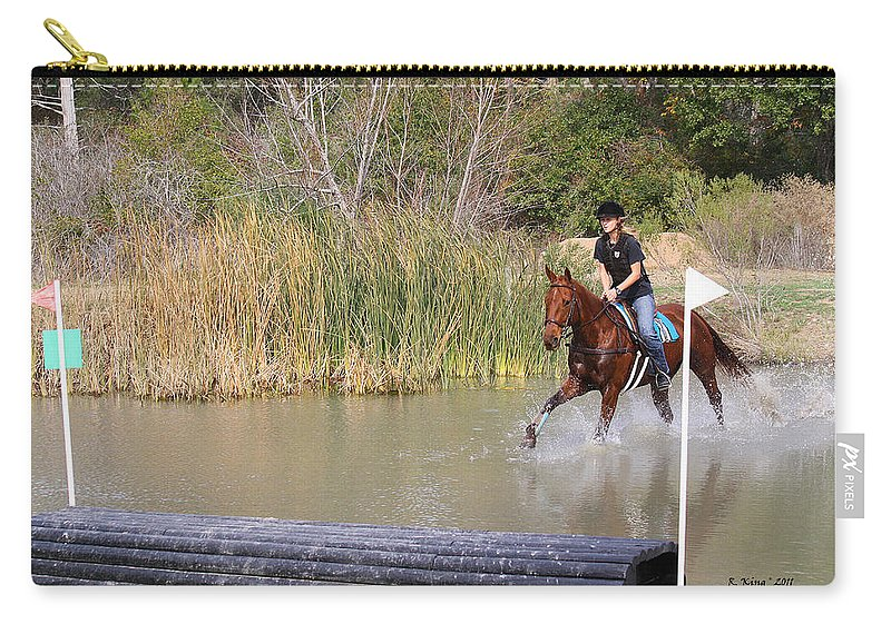 Roena King Carry-all Pouch featuring the photograph Horses Dont Like Water by Roena King