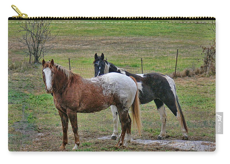 Tn Carry-all Pouch featuring the photograph Horses by Ericamaxine Price