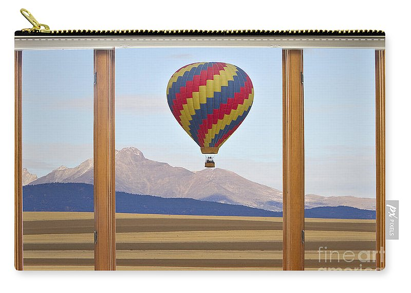 'hot Air Balloons' Carry-all Pouch featuring the photograph Hot Air Balloon Colorado Wood Picture Window Frame Photo Art Vie by James BO Insogna