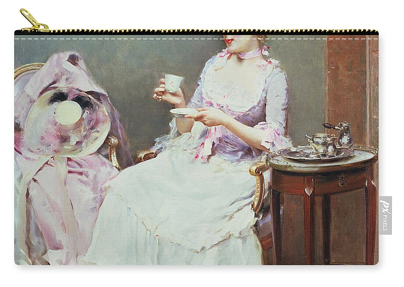 Hot Chocolate Carry-all Pouch featuring the painting Hot Chocolate by Raimundo de Madrazo y Garetta