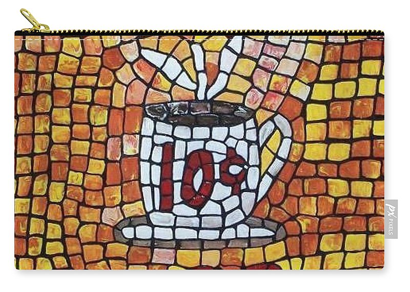 Coffee Carry-all Pouch featuring the painting Hot Coffee 10cents by Cynthia Amaral