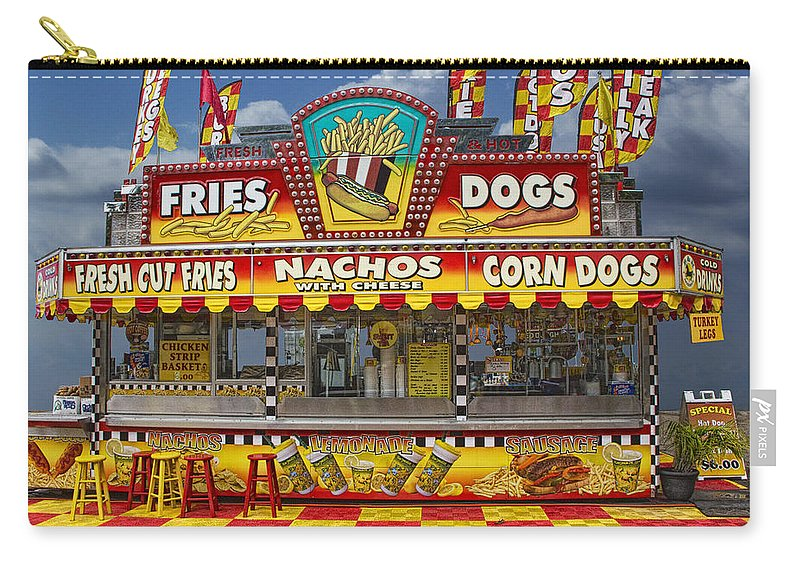 Art Carry-all Pouch featuring the photograph Hot Dog Vendor Stand by Randall Nyhof
