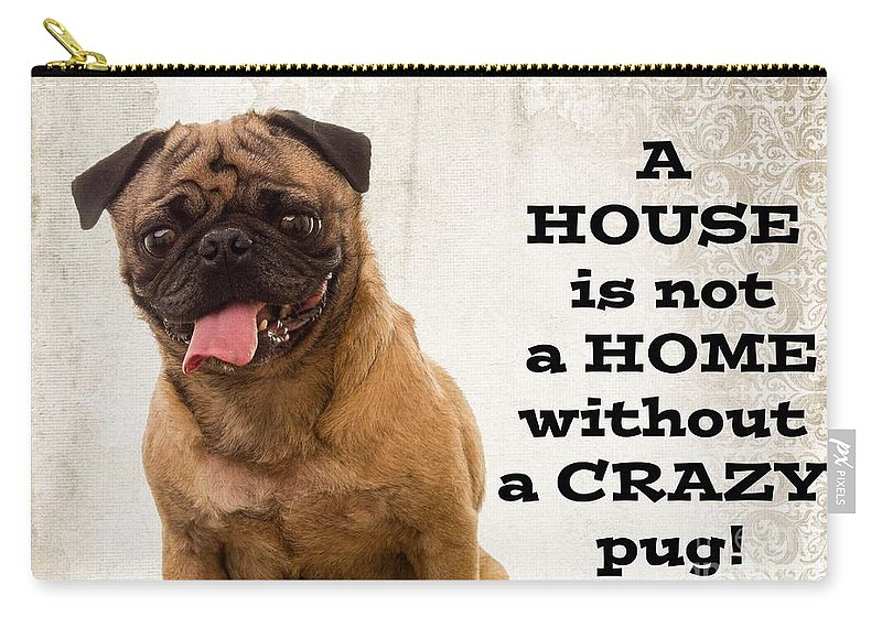 Pug Carry-all Pouch featuring the photograph House Is Not A Home Without A Crazy Pug by Edward Fielding