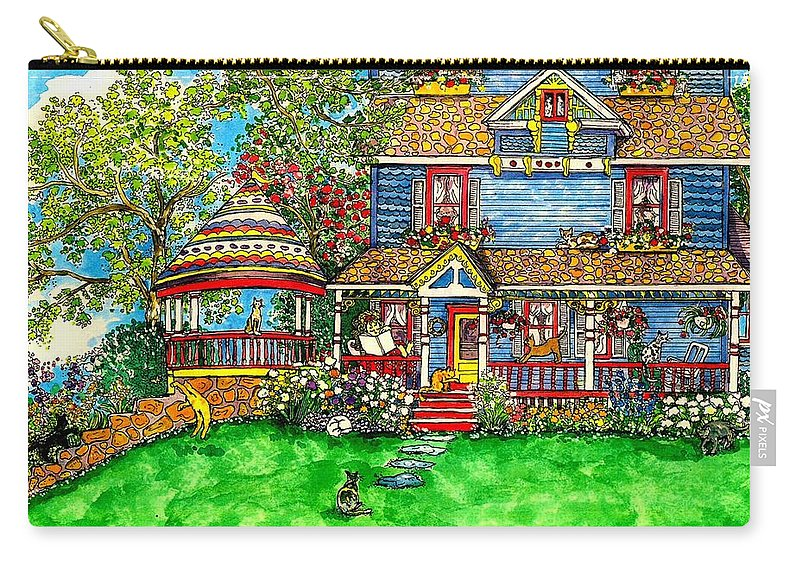 Victorian House Carry-all Pouch featuring the mixed media House Of Cats by Patty Fleckenstein