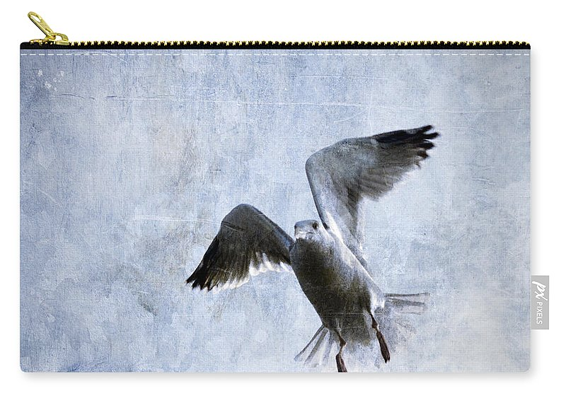 Gull Carry-all Pouch featuring the photograph Hovering Seagull by Carol Leigh