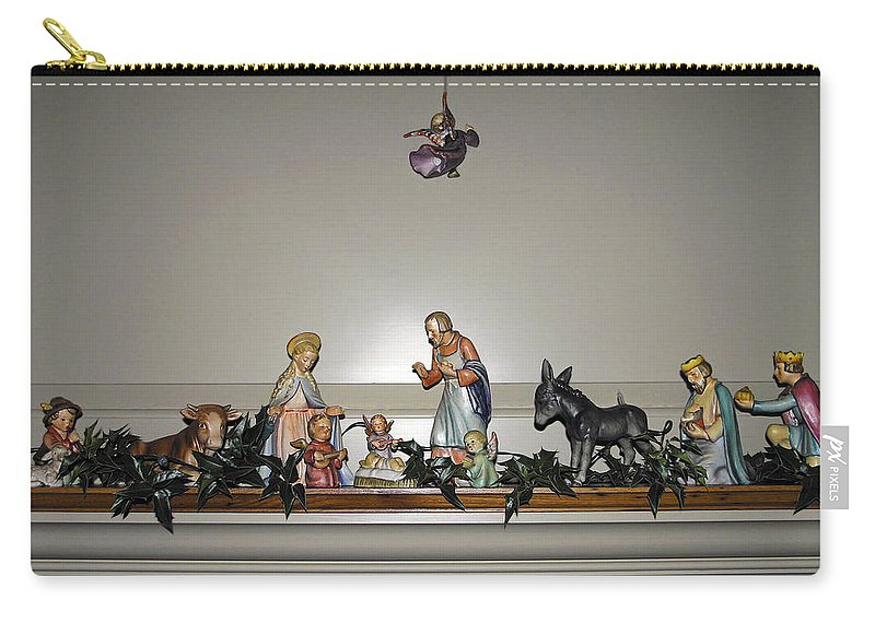 Hummel Nativity Set Carry-all Pouch featuring the photograph Hummel Nativity Set by Sally Weigand