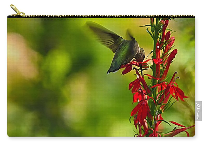 Hummingbird Carry-all Pouch featuring the photograph Hummingbird by Linda Tiepelman