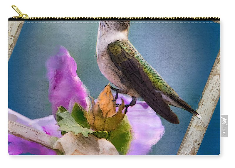 Ruby-throated Hummingbird Carry-all Pouch featuring the photograph Hummingbird Picture Pretty by Betty LaRue