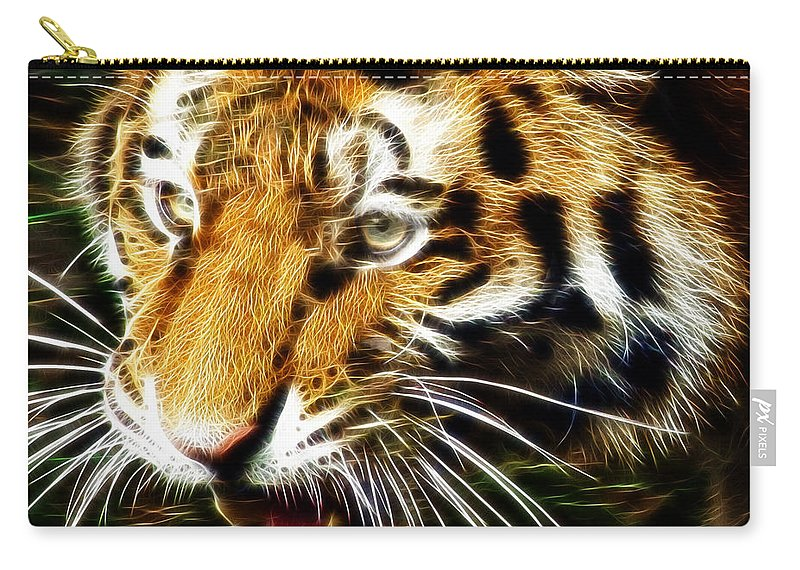 Tiger Carry-all Pouch featuring the photograph Hungry Tiger by Darleen Stry