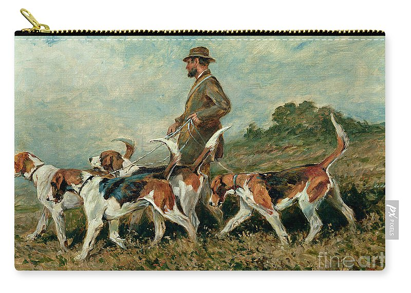 Foxhounds Carry-all Pouch featuring the painting Hunting Exercise by John Emms