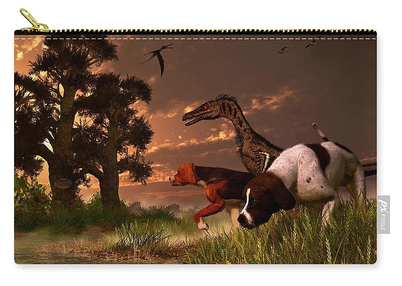 Hunting Carry-all Pouch featuring the digital art Hunting In The Age Gene Splicing by Daniel Eskridge