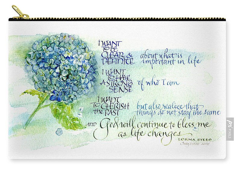 God Carry-all Pouch featuring the painting Hydrangea by Judy Dodds