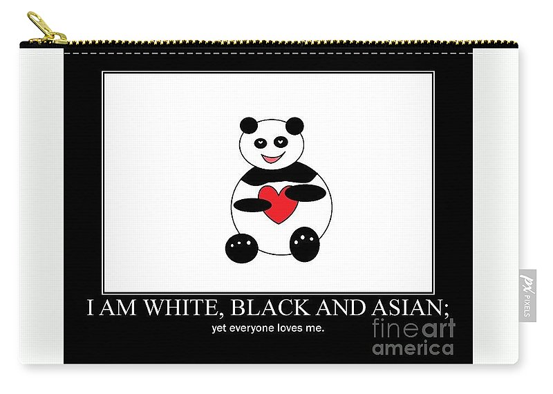 Panda Carry-all Pouch featuring the photograph I Am White Black Asian. I Am Loving Panda by Ausra Huntington nee Paulauskaite