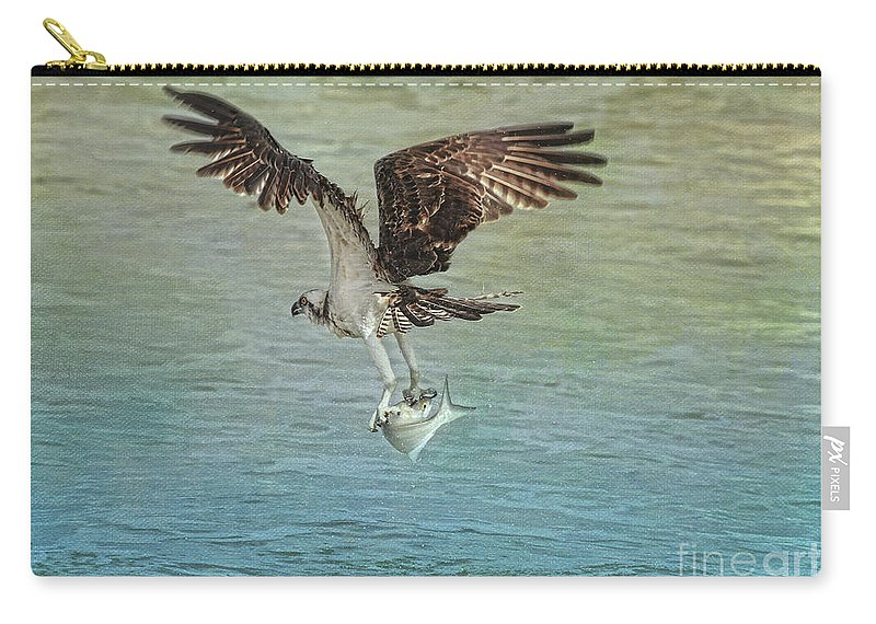 Osprey Carry-all Pouch featuring the photograph I Finally Caught It by Deborah Benoit
