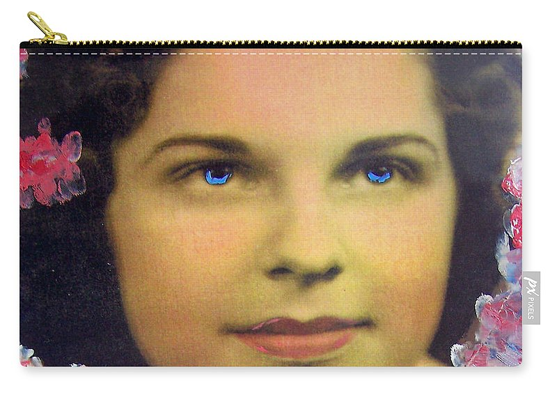 Blue Eyes Carry-all Pouch featuring the mixed media I Miss Her So Much by Patricia Taylor