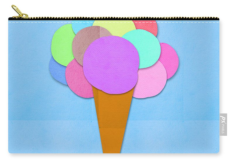 Antique Carry-all Pouch featuring the digital art Ice Cream On Hand Made Paper by Setsiri Silapasuwanchai
