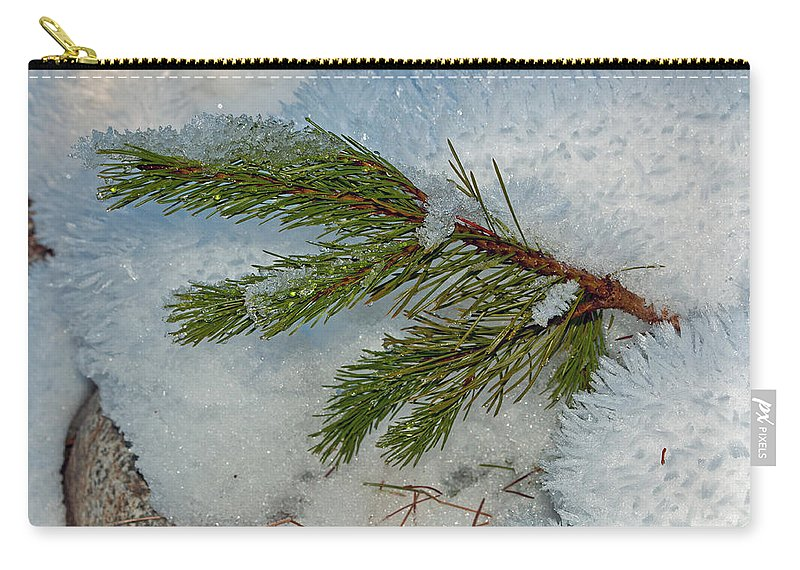 Snow Carry-all Pouch featuring the photograph Ice Crystals And Pine Needles by Tikvah's Hope