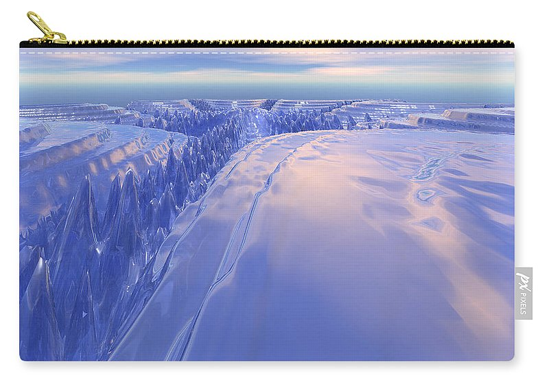 Digital Art Carry-all Pouch featuring the digital art Ice Fissure by Phil Perkins