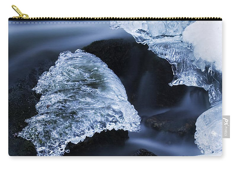 Fn Carry-all Pouch featuring the photograph Ice Patches In Stream, Bavarian Forest by Heike Odermatt
