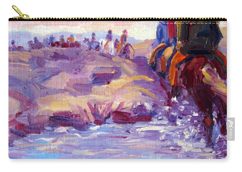Iceland Carry-all Pouch featuring the painting Icelandic Horse Trail Ride by Terry Chacon