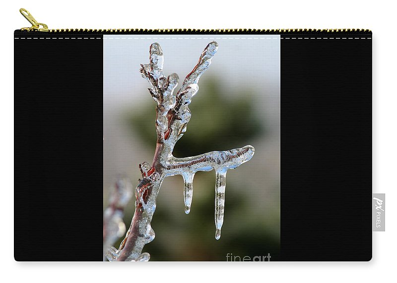 Ice Carry-all Pouch featuring the photograph Icy Branch-7529 by Gary Gingrich Galleries