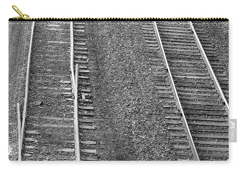 Railroad Carry-all Pouch featuring the photograph I'll Switch No More Bw by Mark Dodd