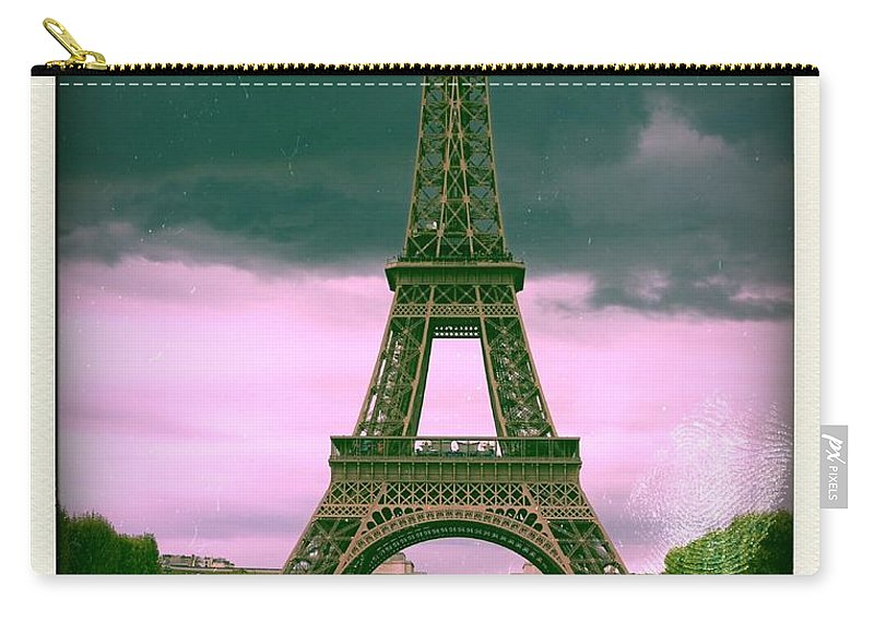 Attraction Carry-all Pouch featuring the photograph Illustration Of Eiffel Tower by Bernard Jaubert