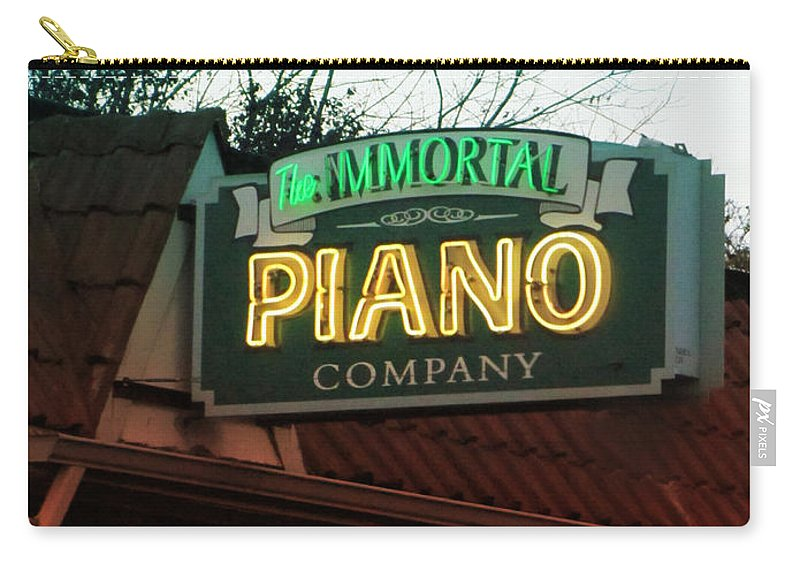 Signs Carry-all Pouch featuring the photograph Immortal Piano Co by Kathleen Grace