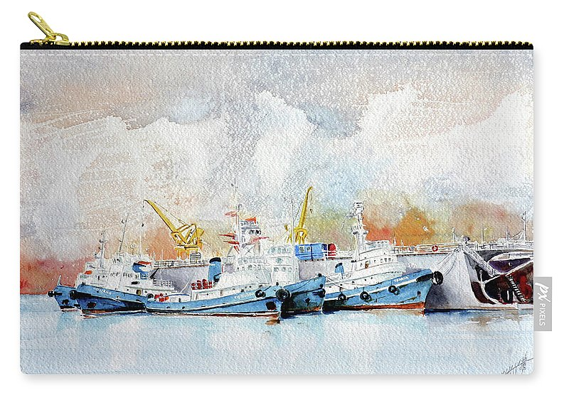 Sea Scape Carry-all Pouch featuring the painting In Attesa Attorno Al Bacino by Giovanni Marco Sassu