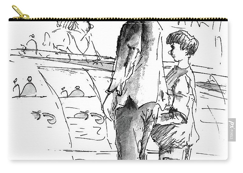 People Carry-all Pouch featuring the painting In Cafe Capuccino 01 by Miki De Goodaboom