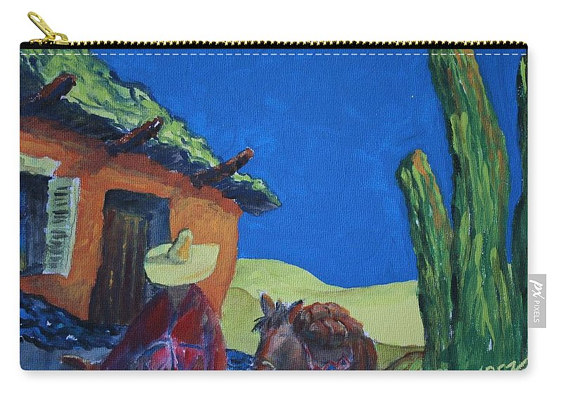 Desert Carry-all Pouch featuring the painting In Search Of Gold by William Bezik