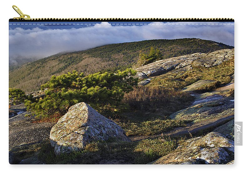 Cadillac Mountain Photographs Carry-all Pouch featuring the photograph In The Clouds At Cadillac by Rick Berk