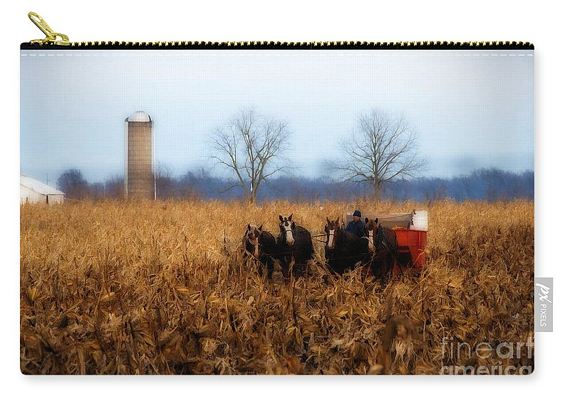 Amish Carry-all Pouch featuring the photograph In The Corn 1 by David Arment