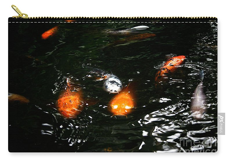 Koi Carry-all Pouch featuring the photograph Incoming Koi Missiles by Susan Herber