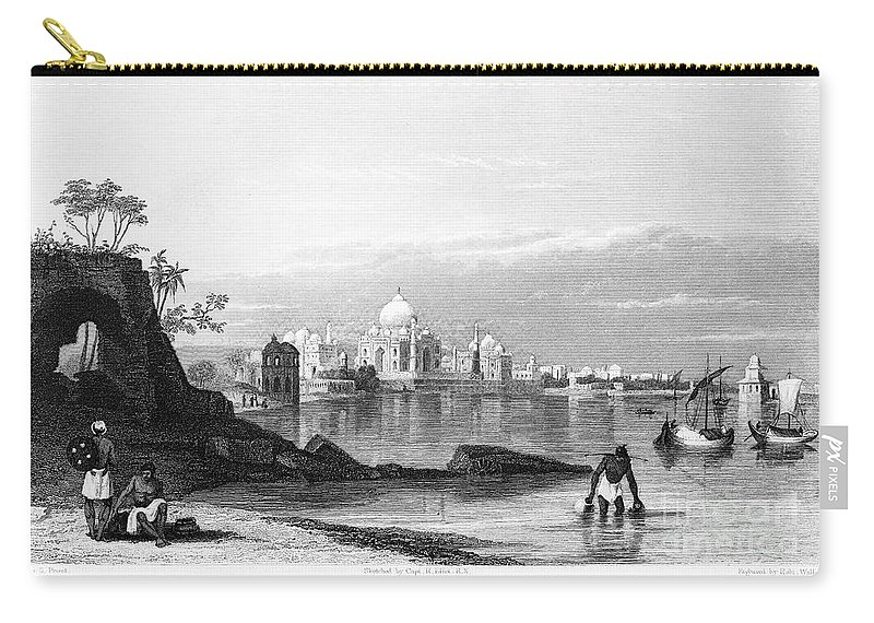 1860 Carry-all Pouch featuring the photograph India: Taj Mahal, C1860 by Granger