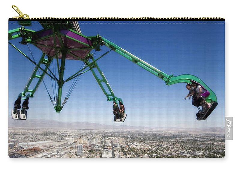 Insanity Tower Ride Carry-all Pouch featuring the photograph Insanity Las Vegas by Jessica Velasco