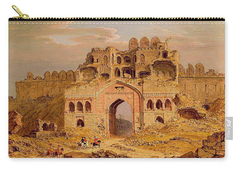 Xyc136956 Carry-all Pouch featuring the photograph Inside The Main Entrance Of The Purana Qila - Delhi by Robert Smith