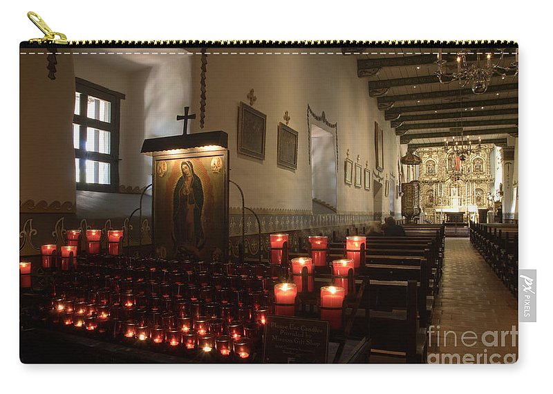Architecture Carry-all Pouch featuring the photograph Interior Old Mission by Bob Christopher