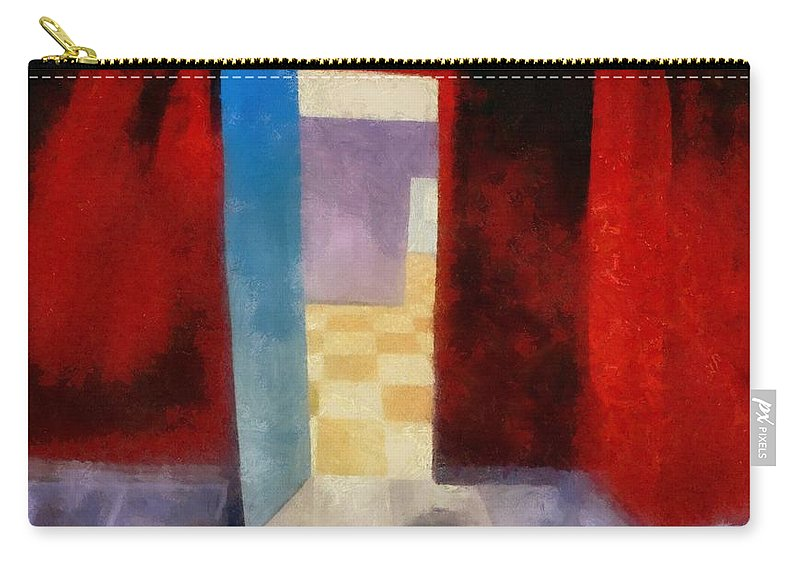Red Carry-all Pouch featuring the painting Interior With Red Walls by Michelle Calkins