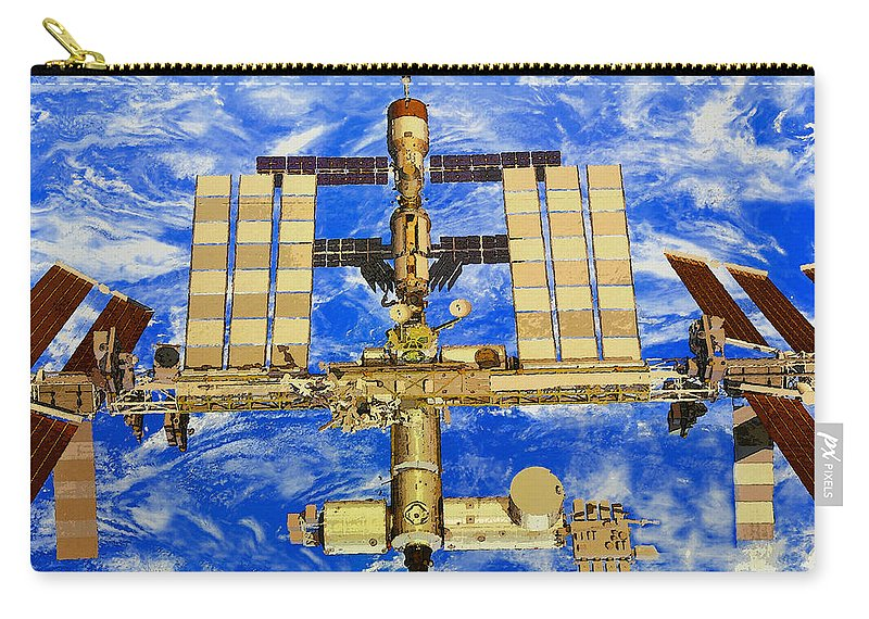 Art Carry-all Pouch featuring the painting International Space Station by David Lee Thompson