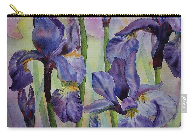 Flowers Carry-all Pouch featuring the painting Iris by Ruth Kamenev