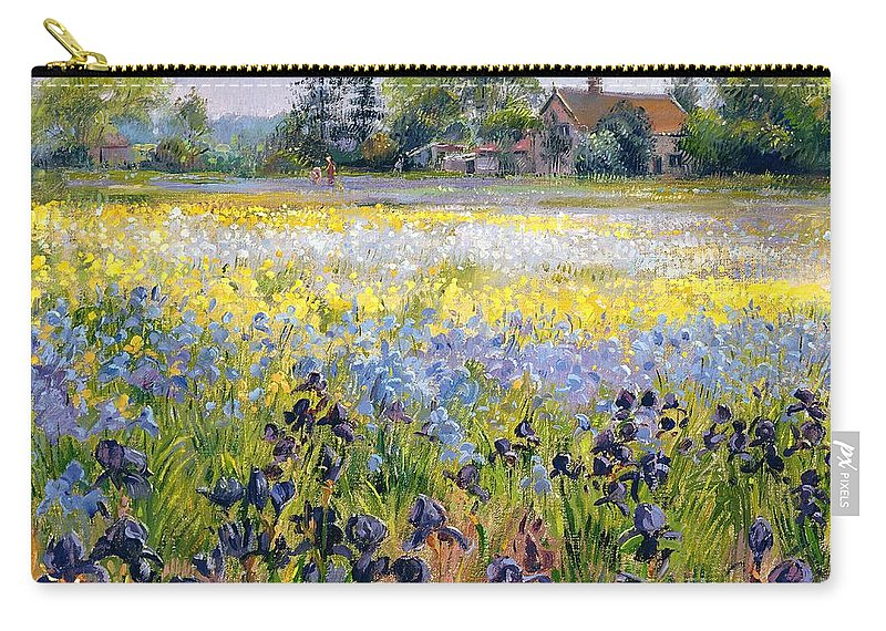 Landscape; Iris; Flower; Flowers; Irises; Tree; Trees; Field; House Carry-all Pouch featuring the painting Irises And Two Fir Trees by Timothy Easton